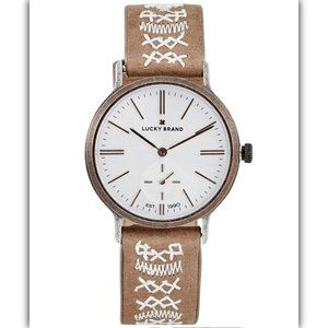 Ventana Embroidered Tan Leather Strap Watch 34mm